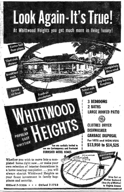 Whittwood Heights located on Citrustree Rd., Whittier CA 1953