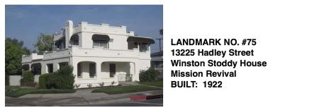 13225 Hadley Street - Winston Stoddy House, Mission Revival, Whittier Historic Landmark #75