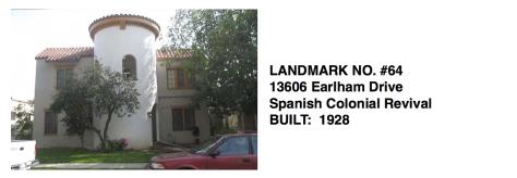13606 Earlham Drive - Spanish Colonial Revival, Whittier Historic Landmark #64