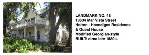 13634 Mar Vista St. - Holten-Haendiges Residence & Guest House, Modified Georgian Style, Whittier Historic Landmark #48