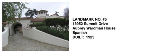 13952 Summit Drive - Aubrey Wardman House, Spanish Revival, Whittier Historic Landmark #5