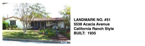 5538 Acacia Avenue - California Ranch Style, Whittier Historic Landmark #51