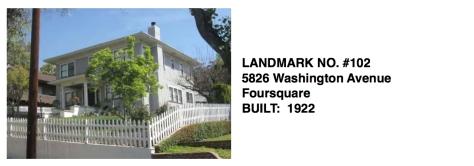 5826 Washington Avenue - Foursquare, Whittier Historic Landmark #102