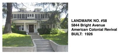 5844 Bright Avenue - American Colonial Revival, Whittier Historic Landmark #58
