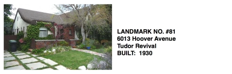 6013 Hoover Avenue -Tudor Revival, Whittier Historic Landmark #81