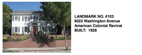 6022 Washington Avenue - American Colonial Revival, Whittier Historic Landmark #103
