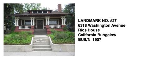 6318 Washington Avenue - California Bungalow, Rios House, Whittier Historic Landmark #27