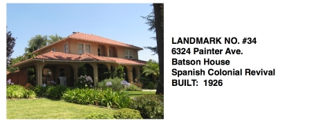 6324 Painter Ave. - Batson House, Spanish Colonial Revival, Whittier Historic Landmark #34