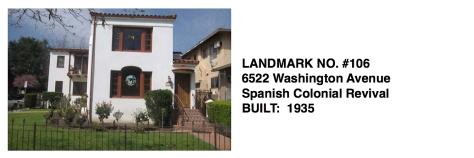 6522 Washington Avenue -Spanish Colonial Revival, Whittier Historic Landmark #106