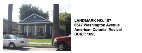 6547 Washington Ave. - American Colonial Revival, Whittier Historic Landmark #107