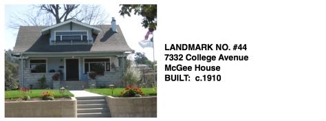 7332 College Avenue - McGee House, 1910, Whittier Historic Landmark #44