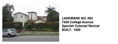 7339 College Avenue - Spanish Colonial Revival, Whittier Historic Landmark #63