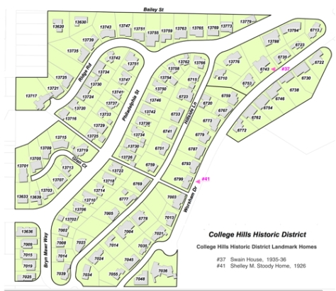 Map of Whittier's College Hills Historic District that includes homes nearby Whittier College along the south side of Bailey St., on Ridge Rd, Philadelphia St., Bryn Mawr Way, Hillside Lane and Worsham Dr.